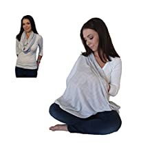 Infinity Nursing Scarf Breastfeeding Cover Ultra Soft Premium Jersey Polyester- 100% AZO free and Safe for Baby (Light Grey Pattern)