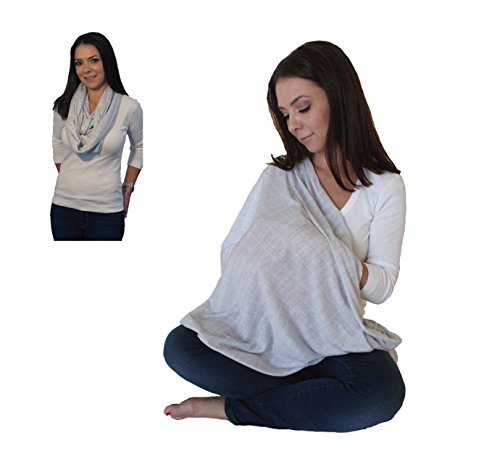 Free Scarf - LK Baby Infinity Nursing Scarf Breastfeeding Cover Ultra Soft Premium Jersey Polyester- 100% AZO free and Safe for Baby (Light Grey Pattern)
