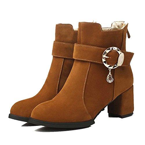 Damen Braun Spitze Mittler VogueZone009 Niedrig Rund Stiefel Reißverschluss Absatz Zehe 7aqzdxHzw