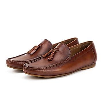 MXNET Spring Summer Tassel Mocasines Hombre Slip On Soft Leather Shoes Cómodo mocasín de conducción Zapatos de Cuero Genuino para Hombres (Color : Brown, ...