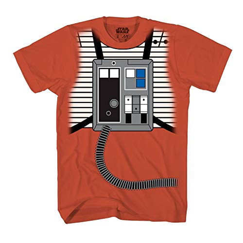 Star Wars Luke Skywalker Rebel Pilot X-Wing Costume Adult T-Shirt (Orange,X-Large)]()