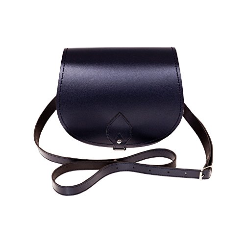 Zatchels - Borsa Saddle in Pelle Fatta a Mano - Classico - Donna Blu navy