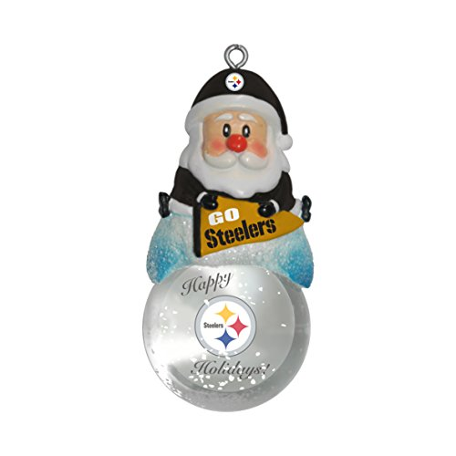 NFL Pittsburgh Steelers Snow Globe Ornament, Silver, 1.5