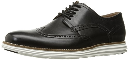 (Cole Haan Men's Original Grand Shortwing Oxford Shoe, Black Leather/White, 10.5 Medium US)