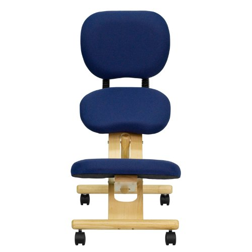 Flash Furniture Mobile Wooden Ergonomic Kneeling Posture Chair with Reclining Back in Navy Blue Fabric