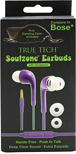 Soulzone Stereo Earbuds with Microphone - Purple