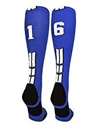 Royal/White Player Id Custom Over The Calf Number Socks (Pair)