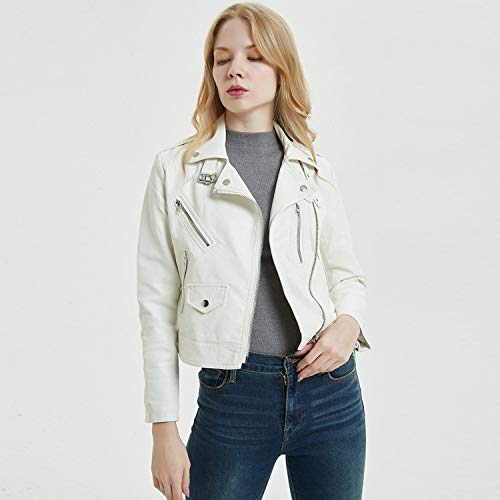 Motociclista White Donna Multi Cool Risvolto Da Corta Moda Pelle Cjjc Per In Primaverili Con Ideale Giacca zip Ragazze Le qU8n0E