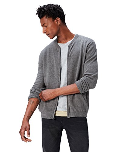 find. Men's Cotton Cardigan Sweater in Bomber Jacket Style,  (Charcoal Grey Marl), XXL (US XL)