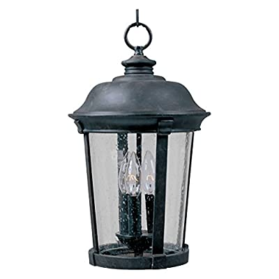 Maxim Lighting Dover Die Cast 3-Light Outdoor Hanging Lantern, Bronze Finish with Seeded Glass