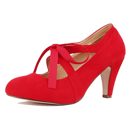 Guilty Heart Womens Vintage Retro Mary Jane Kitten Mid Heel Pump Pumps Pumps, Red Suede, 6.5 B(M) US (Shoes Mary Jane Red)