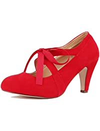 91d9bc990b36 Womens Vintage Mary Jane Pumps Low Kitten Heels Retro Round Toe Shoe with Ankle  Strap