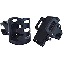 Motorcycle Phone Mount GPS Handlebar Adjustable Cradle Android Iphone (Iron Horse) Drink Cup Holder Clamp Bar Universal Bundle