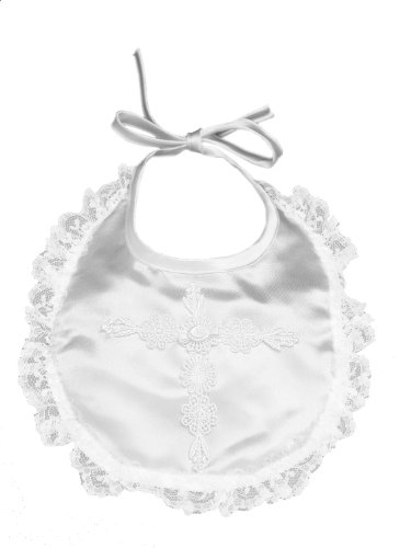 Christening Baby Bib (Lauren Madison baby girl Christening Baptism Infant Embroidered Cross Bib, White, One Size)