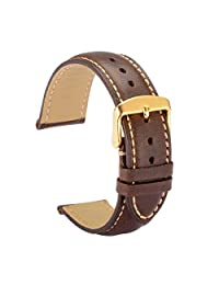 WOCCI Watch Bands 19mm Dark Brown Vintage Leather Watch Strap with Golden Metal Pins Buckle for Women or Men