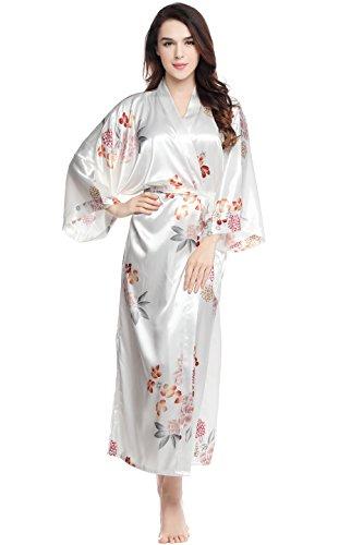 - BABEYOND Floral Kimono Robe Satin Silk Wedding Robe Nightgown Sleepwear 53