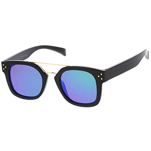 sunglassLA - Modern Horn Rim Metal Crossbar Square Flat Mirrored Lens Aviator Sunglasses 48mm