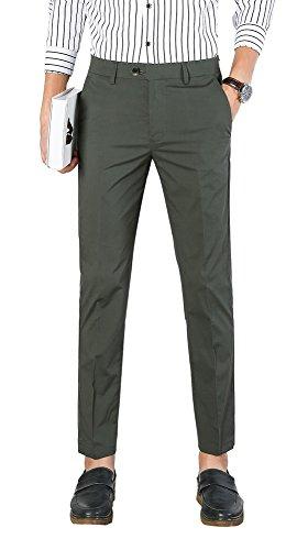 Plaid&Plain Men's Dress Pants Slim Fit Cropped Pants Mens Tapered Dress Pants 1828Grey ()