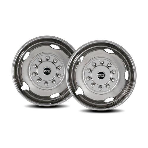 Chevy GMC HD 3500//P30 Truck RV Motorhome Pacific Dualies 30-2950 19.5 Polished Stainless Steel Wheel Simulator Front Tag Axle Kit for 1974-2005