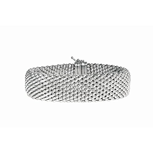 Sterling Silver Rhodium Plated 7.5 Inch Fancy Bracelet by JewelryWeb