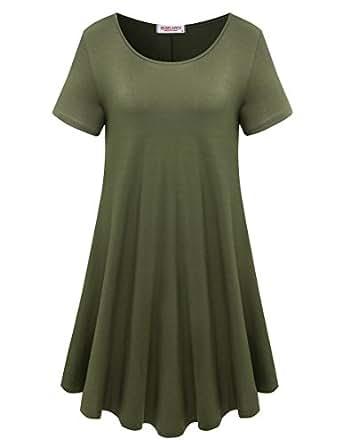 BELAROI Womens Comfy Swing Tunic Short Sleeve Solid T-shirt Dress (S, Army Green)