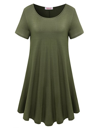 (BELAROI Womens Comfy Swing Tunic Short Sleeve Solid T-Shirt Dress (M, Army)