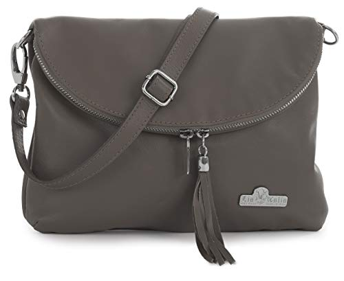 Taupe Soft Bag Italian Shoulder Medium Deep AMY Cross Leather Body Messenger LIATALIA Real Small Size 6BqwS