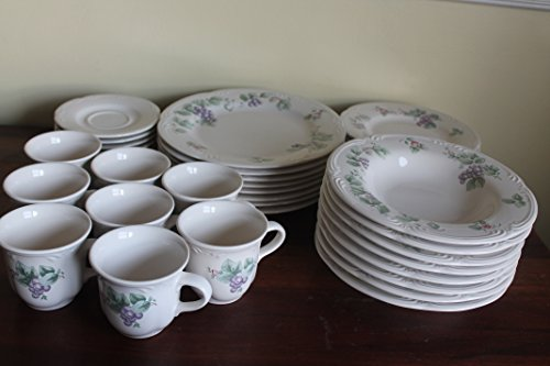 (Pfaltzgraff Grapevine Set/40 serves 8 Dinnerware Set ~8 Dinner Plates~8 Salad Plates~8 Rimmed Soup Bowls~8 Cup~8 Saucers~ Stoneware, Purple Grapes, Pink Flowers)