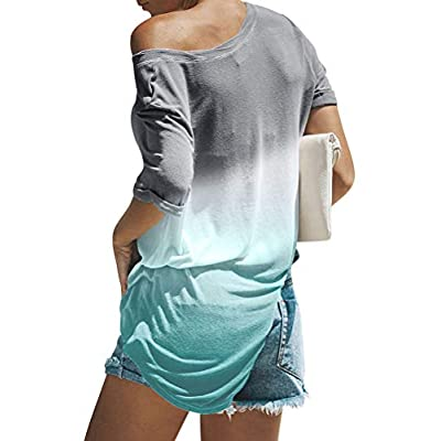 Dresswel Women's Casual Crew Neck Long Sleeve Gradient Contrast Color-Block Pullover Tie Dye Blouse Tops Loose Sweatshirts at Women's Clothing store
