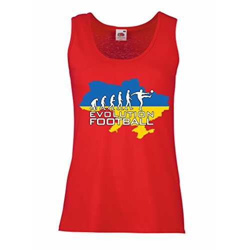 lepni.me Womens Tank Tops Evolution Football - Ukraine, Championship, World Cup Soccer Team Fan Shirt (XX-Large Red Multi Color)