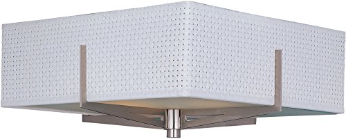ET2 E95340-100SN Elements 2-Light Flush Mount, Satin Nickel Finish, Glass, MB Incandescent Bulb, 12W Max., Dry Safety Rated, 2900K Color Temp., Standard Dimmable, Shade Material, 560 Rated Lumens