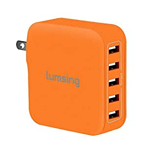 Lumsing 40W 8A 5-Port USB Wall Charger with Folding Plug Portable Travel Charger For iPhone 6 Plus, iPad, Samsung Galaxy S6 Edge(Orange)