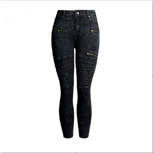 A Donna Pantaloni Skinny Pieghettato Zipper Nero Da Fashion Matita Stret Jeans wSZP0x7q