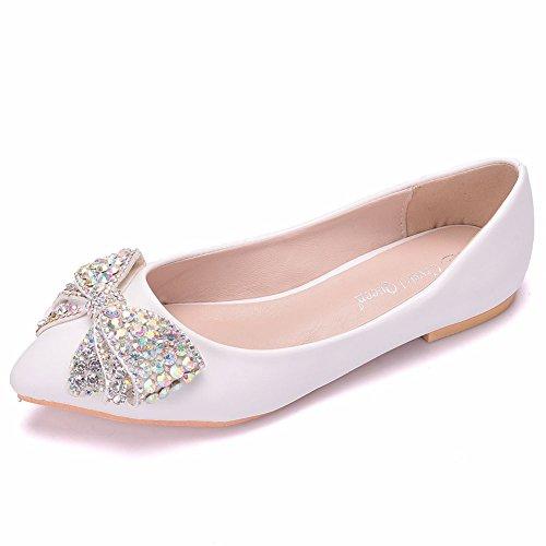 Estrecha Fiesta Boda Mujeres Rhinestone Ager Zapatos Moojm Punta De Flower Zapatos Vestido 01ABF Ballet Pisos White Bow PCvx6Rwq6