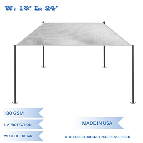 E K Sunrise 18 x 24 Light Grey Rectangle Sun Shade Sail Outdoor Shade Cloth UV Block Fabric,Straight Edge-Customized