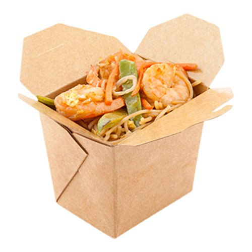 8-OZ Square Noodle Take Out Food Container: Perfect for Take Out Restaurants – Kraft Brown – Easy Fold and Close – Disposable and Recyclable – 200 CT – (Same 200 Box Packaging)