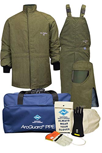 National Safety Apparel KIT4SCLT402X09 ArcGuard Revolite Arc Flash Kit with Short Coat and Bib Overall, 40 Calorie, XX-Large/Glove Size 9, Olive Green