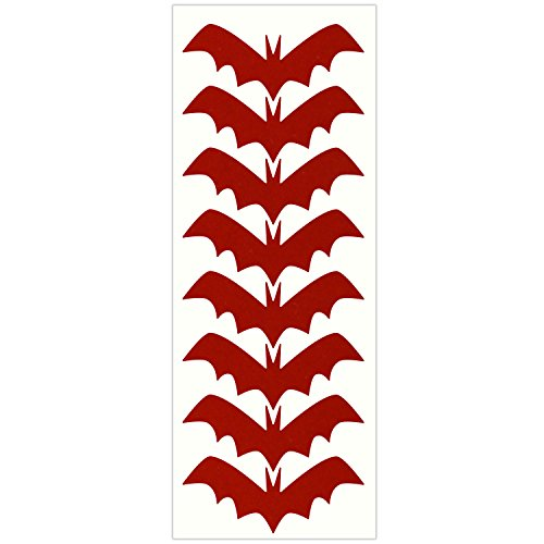 LiteMark Reflective Red 4 Inch bat Sticker Decals for Helmets, Bicycles, Strollers, Wheelchairs and More - Pack of 8
