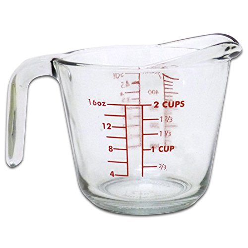 Kitchen Classics 91660LIB 16 Oz Measuring Cup; Holds 16 Ounces/500 ml; Clear Glass; Red Print; Oven, Freezer, Dishwasher and Microwave Safe; Ounce, Cup, Milliliter and Deciliter Measurement Markings -  Libra, 240471