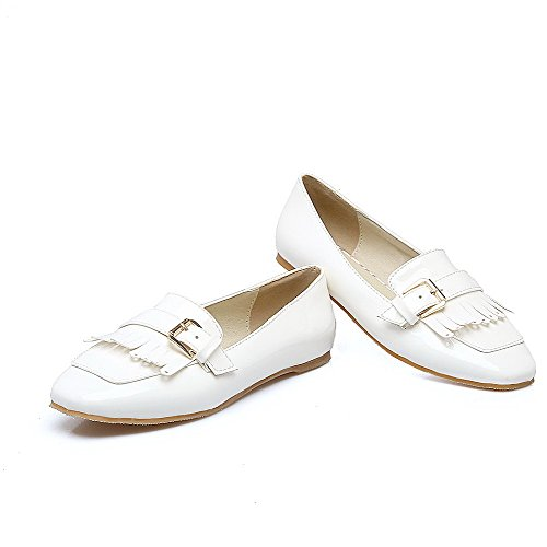 Odomolor Women's Low-Heels Square-Toe Solid Pull-On Pumps-Shoes, White, 38