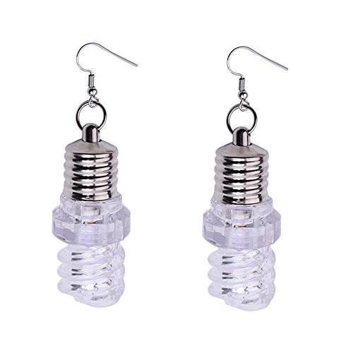 Crytech Trendy Creative Led Light Up Bulb Dangle Drop Earrings Festival Holiday Party Favor Light-Up Bulb Dangling Hoop Earrings for Women Girl Fashion Jewelry Birthday Gift