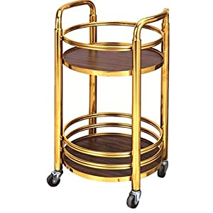 Never-give-up-Beauty-Tool-Rack-Mobile-Milk-Tea-Cart-Wine-Cart-Snack-Car-Hotel-Trolley-Trolley-Trolley-Cart-Color-Gold