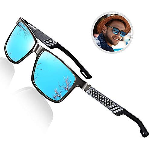 (ROCKNIGHT Polarized Sunglasses for Men Al-Mg Lightweight Blue Mirrored Sunglasses UV Protection Casual Fishing Sunglasses Blue)