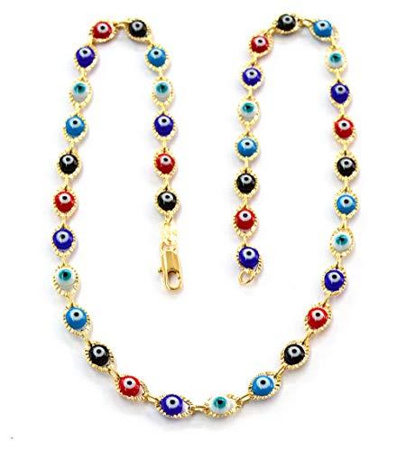 (meveye-01-j5) 18kt Brazilian Gold Filled Multicolored Evil Eye Necklace, 18