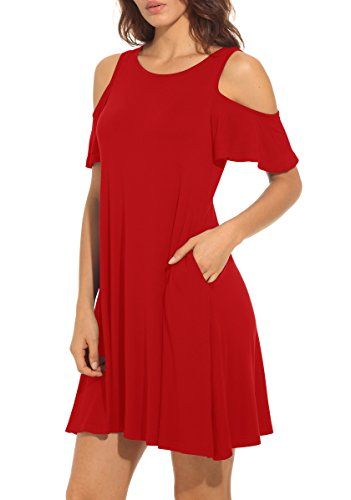 QIXING Women's Summer Cold Shoulder Tunic Top Swing T-Shirt Loose Dress with Pockets Red-M by QIXING