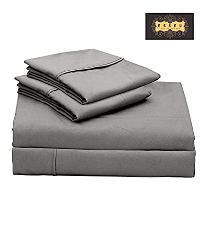 300 Thread Count 100% Cotton Sheet Set, Soft Sateen Weave,Queen Sheets, Deep Pockets,Home & Hotel Collection,Luxury Bedding-Bestseller- Super Sale 100% Cotton, Elephant Grey by - Solid Sateen Sheets