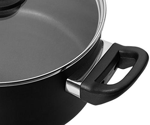 Amazon Basics - 8-teiliges Kochgeschirr mit Antihaftbeschichtung & Café Geschirrservice mit schwarzem Rand, 16-teilig…