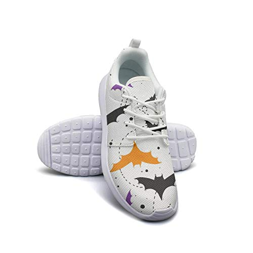 Man's Sneaker Halloween Bat White Vintage Rubber Sole Workout Shoes