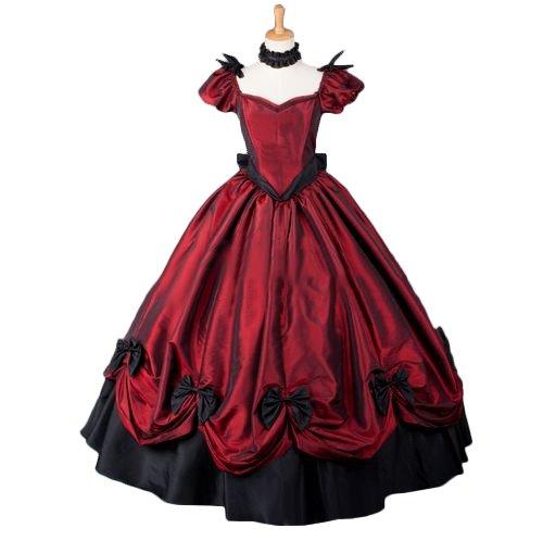 Teemie Lolita dress 赤色 特注可ロング丈ロリータドレス 半袖 ゴシックワンピース 中世期ドレス 洋服パニエ 内蔵 プリンセス なりきり 男女兼用 B077KNB399 XL  XL