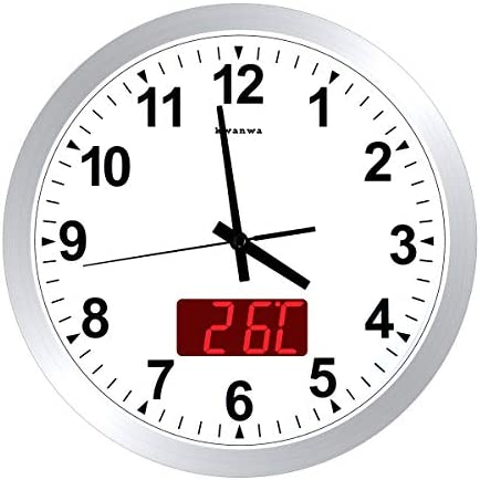 KWANWA 12 Metal Quartz LED Wall Clock Battery Operated with 1.34 Digital Time or Temperature Display Non Ticking Silent Quiet Sweep Second Hand